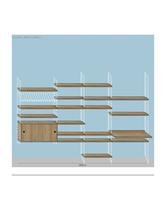 String Shelving System 2 White And Oak