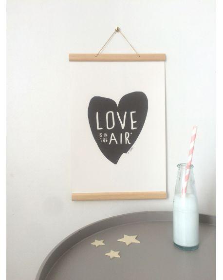 """QUAND LES POULES AURONT DES DENTS - Affiche bois """"Love in the air"""""""
