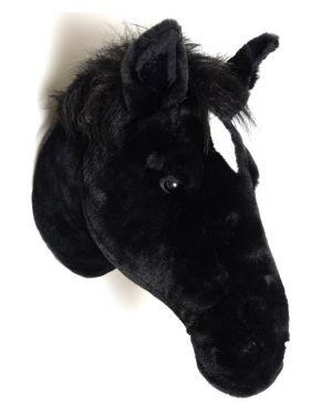 WILD & SOFT - Trophée en peluche - Tête de Cheval noir