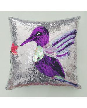 PAOLA ALONSO - Coussin paillette oiseau violet