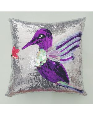 PAOLA ALONSO - Sequin Art Cushion Purple Bird