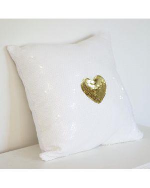 PAOLA ALONSO - Coussin paillette Blanc Coeur