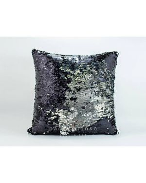 PAOLA ALONSO - Sequin Art Cushion Double Sided Black & Silver