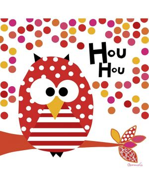 LILIPINSO - TABLEAU HIBOU - Rouge