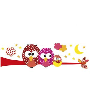 LILIPINSO - STICKER BRANCHE HIBOU - Rose
