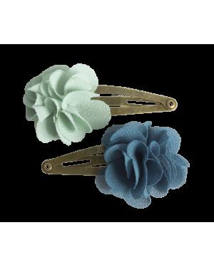 MAILEG - HAIR CLIPS - FLUFFY FLOWERS - Aqua
