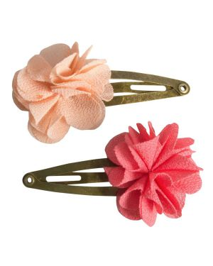 MAILEG - HAIR CLIPS - FLUFFY FLOWERS - Pink