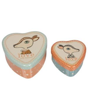 MAILEG - 2 METAL HEARTS - Bambi Set