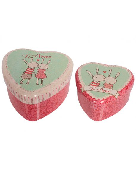 MAILEG - 2 METAL HEARTS - Rabbit Set