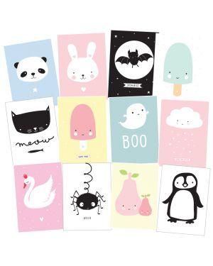 A Little Lovely Company - Lot de cartes postales : Cute kids