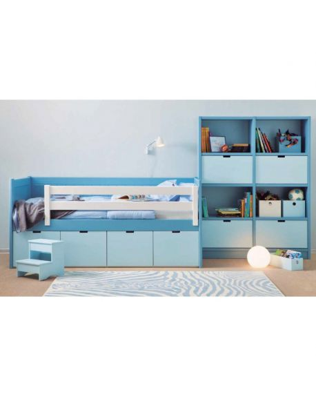 ASORAL -Bahia Junior bed with boxes and with library- (20 colors)