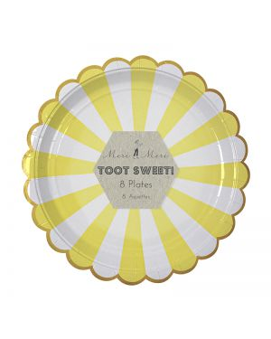 Meri Meri - Toot Sweet Yellow Stripe Large Plate x 8 (229 x 229 mm)