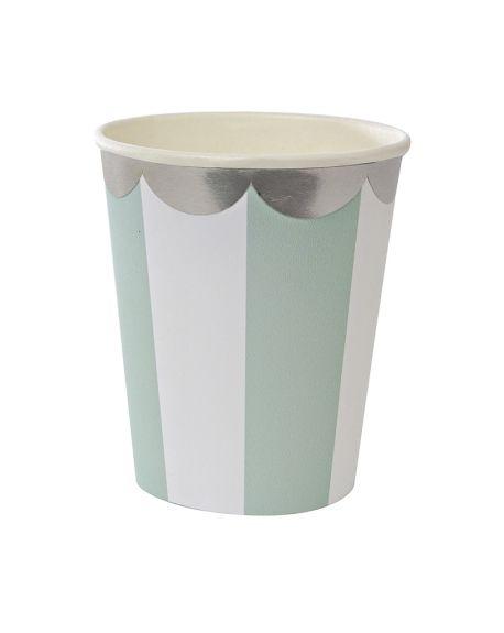 Meri Meri - Gobelets rayures aqua/argent - x 8 - (260 ml)