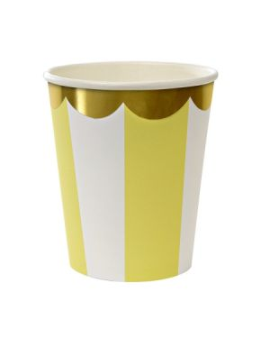 Meri Meri - Gobelets rayures jaune/or - x 8 - (260 ml)