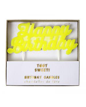 Meri Meri - Bougie HAPPY BIRTHDAY - 114 x 102 x 16mm
