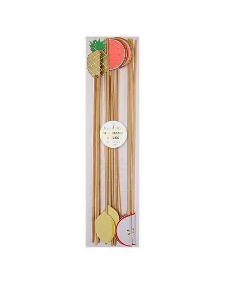 Meri Meri - fruit swizzle sticks - x 12 - 80 x 290 x 6mm