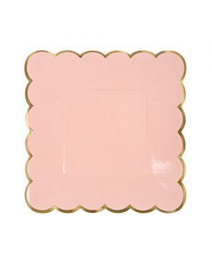 Meri Meri - 4 Pastel colors large plates - pack of 8 - 230 x 230 mm