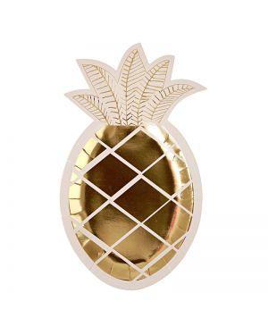 Meri Meri - assiettes ananas - x 8 - 245 x 145mm
