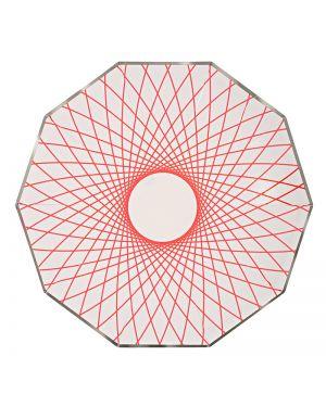 Meri Meri - Grandes assiettes neon spiro - x 8 - 230 x 230 mm