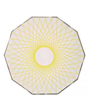 Meri Meri - Petites assiettes neon spiro - x 8 - 180 x 180 mm