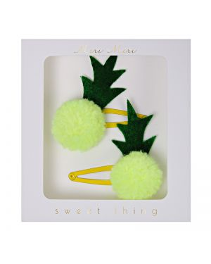 Meri Meri - pineapple pom pom hairclips - x 2 - 98 x 93 x 13mm