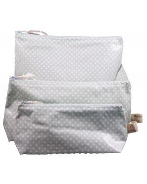 Les Petits Vintage - Trousse coton enduit étoile turquoise M