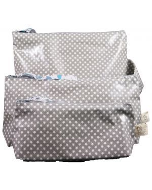 Les Petits Vintage - Trousse coton enduit étoile gris M