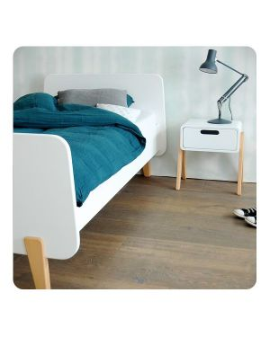 LAURETTE - Lit MM pieds bois naturel 90x190cm
