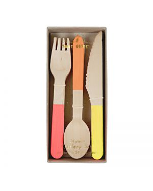 Meri Meri - wooden cutlery bright set - x 8 - 75 x 160 x 25 mm