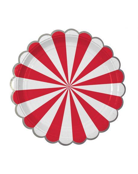 Meri Meri - Red stripe plate LG S/8 Foil