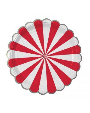 Meri Meri - 8 Assiettes en carton à rayures rouge - 17cm
