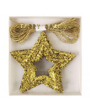 Meri Meri - Guirlande étoiles dorées à paillettes