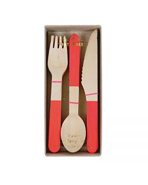 Meri Meri - Wooden Cutlery Red