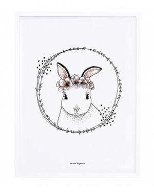 LILIPINSO - Tableau romantique lapin et fleurs