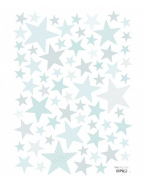 LILIPINSO - Stickers Etoiles bleu turquoise clair