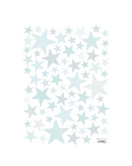 LILIPINSO - Stickers Etoiles bleu turquoise clair