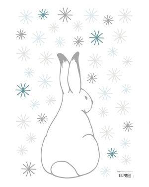 LILIPINSO - Sticker lapins et flocons gris & bleus