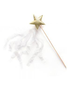 Mouche - Baguette paillette étoile dorée avec tulle