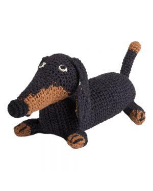 ANNE-CLAIRE PETIT-Peluche Teckel en crochet Bleu marine