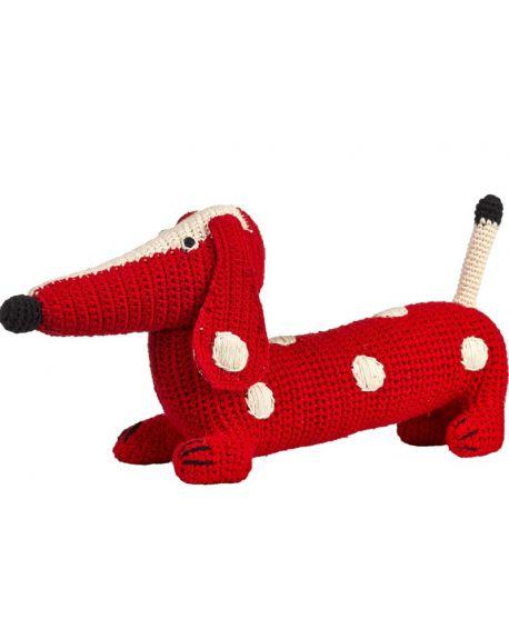 ANNE-CLAIRE PETIT-Peluche Teckel en crochet Rouge à pois blanc