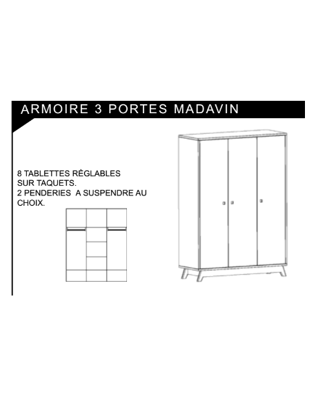 MATHY BY BOLS - Madavin Wardrobe 3 doors