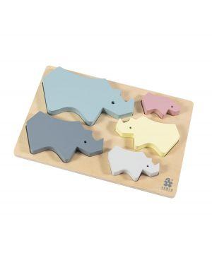 SEBRA - Wooden Chunky Puzzle Rhino