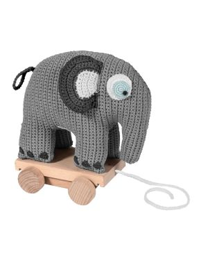 SEBRA - Crochet pull-along toy - Elephant - Grey