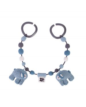 SEBRA - Crochet pram chain - Elephant - Cloud blue