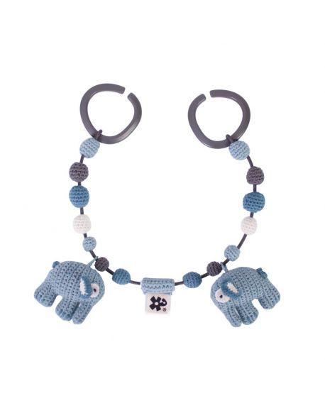SEBRA - Crochet pram chain - Elephant - Cloud blue