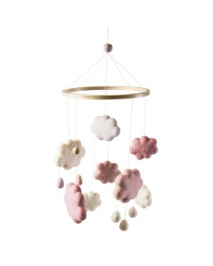 SEBRA - Felted baby mobile - clouds - girls