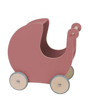 SEBRA - Wooden dolls pram - Dark rose