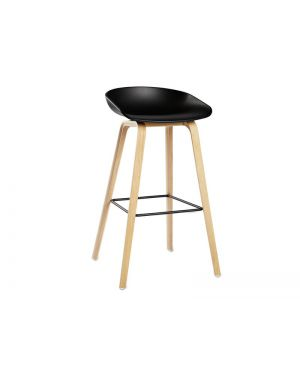 HAY- ABOUT A STOOL - AAS32 - Chaise design - Noir & pied bois (H 75cm)