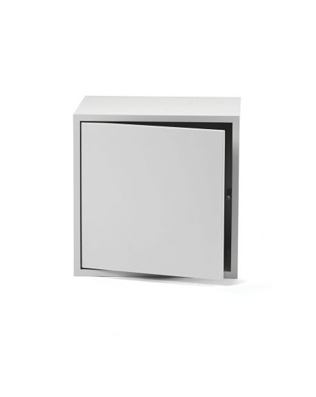 MUUTO STACKED - SHELVING UNIT - Light grey with door