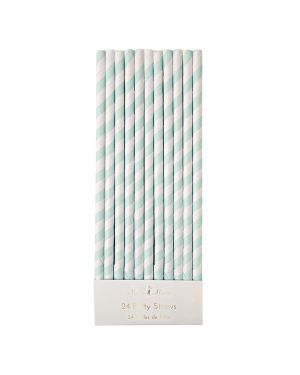 Meri Meri - Mint Striped Straws x 24